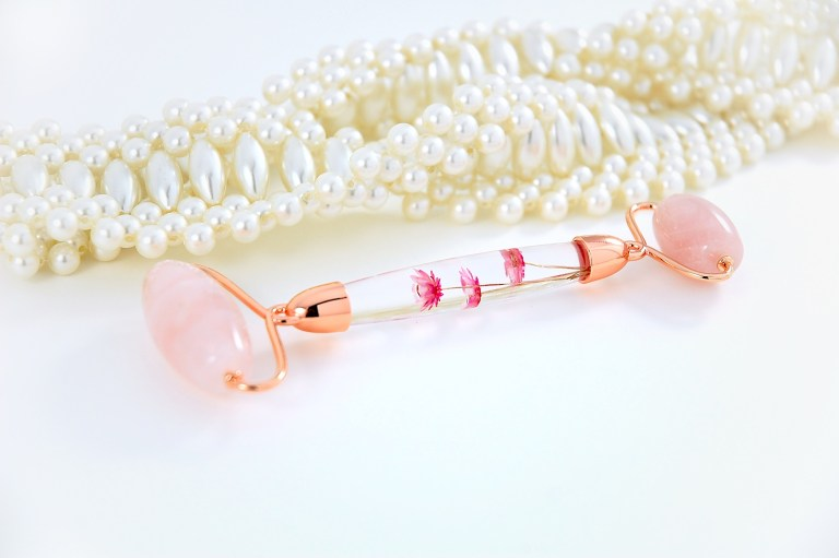 Rose Quartz Jade Roller with Real Flower Infused Handle